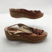 Spring Step Womens Espadrilles Sandals Brown Leather Florette Platform 10.5 M