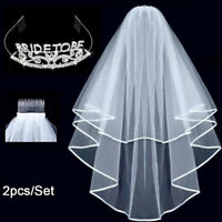 Bride To Be Crown Tiara Veil Bachelorette Girl Night Hen Party Do Fancy Dress