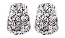 CLIP ON EARRINGS - silver stud earring with clear crystals - Willa