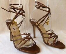 Baby Phat Women Size 7 Bronze Sexy Strappy Stiletto Shoe Heel Open Toe New