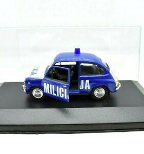 MODELLINO AUTO POLIZIA MONDO SCALA 1:43 ZASTAVA 750 FIAT 600 DIECAST MILICIJA