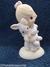 Enesco Precious Moments Figurine Jesus Loves Me Girl With Bunny Jonathan & David