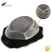 Poly Skin Front Mens Toupee Mono Hairpiece Black Human Hair Replacement System