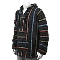Mexican Poncho Baja Hoodie Surfer Drug Rug Pullover Made in Mex Unisex Rainbow
