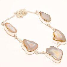 """BOTSWANA AGATE DRUZY GEMSTONE HANDMADE Jewelry NECKLACE 18"""" N-81"""