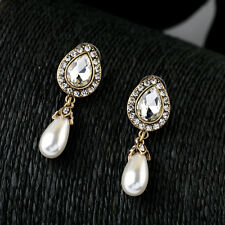 Pear Stone Teardrop Crystals Pave and Pearl Dangle Drop Wedding Earrings Jewelry