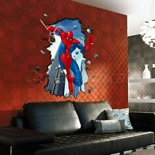 3D Spider Man Cracked PVC Wall Sticker Kids Boy Room Decal Wallpaper Home Decor