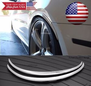 """1 Pair Flexible 1"""" Arch Extension Wide Body Fender Flares Silver Lip For Dodge"""