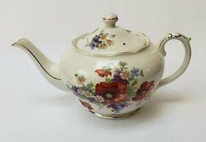 Crown Dorset Teapot Floral Gold Trim Multi-Color Staffordshire Fine Ceramics
