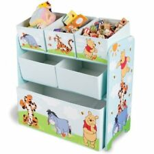 Kids Toy Storage Unit Disney Winnie Multi-Bin Organiser Bedroom Playroom Clothes