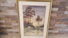 Vintage Watercolor Painting Original  1945 riverside farmer germany Signed