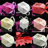 10/50/100 PCS Love Heart Wedding Party Favor Ribbon Gift Box Candy Boxes