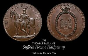 Suffolk Hoxne Conder Halfpenny D&H 33a, lustrous!