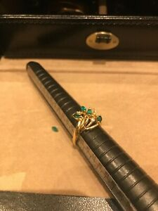 14ct Gold Emerald Diamond Cocktail Ring