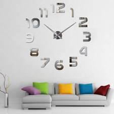 DE Design Wand Uhr Wohnzimmer wanduhr Spiegel Edelstahl wandtattoo Deko XXL 3D