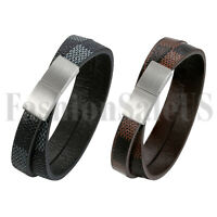 Men Braided Leather Wrap Stainless Steel Magnetic Clasp Buckle Bracelet Bangle