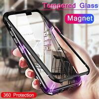 360° Full Magnetic Adsorption Flip Metal Frame Tempered Glass Phone Case Cover