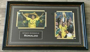 RONALDO LUIS NAZARIO HAND SIGNED FRAMED PHOTO DISPLAY BRAZIL AUTOGRAPH COA