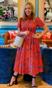 ALEXIS FOR TARGET RED/ORANGE BLUE TROPICAL LEAF SHIRT DRESS NWT SIZE SMALL