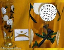 Golf Golfing Glass Beer Stein Cup Mug Balls & Tees