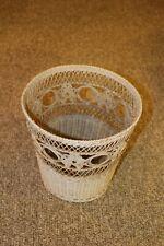 "Vintage Wicker Waste Paper Basket Trash Can 10.5"" Off White Cream"