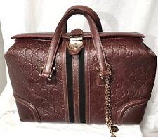 GUCCI Treasure Boston Brown Embossed Leather Black Velvet Gold Hardware Handbag