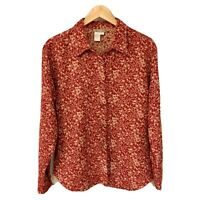 Territory Ahead Women's Medium Cotton Knit Button Down Shirt Red Floral Print