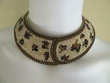 """Vintage Brass Neck Cuff Collar Chocker Necklace w/ Beads and Stones """"Heinsun 89"""""""