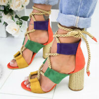 UK Womens Ladies Block High Heels Ankle Tied up Sandals Lace Up Shoes Size
