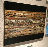 "beautiful abstract painting 24"" x 18"" wood patterns on black, acrylic original"