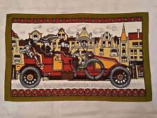 GERMANY-VINTAGE AUTHENTIC MALIMO RETRO CAR GREEN BRICK COTTON KITCHEN TEA TOWEL