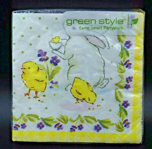 3 packs Classic Easter Beverage Napkins 18 Pack  Bunny Chicks Purple 54 MIP