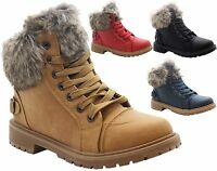 Ladies Kids Girls Faux Fur Grip Sole Winter Warm Ankle Boots Trainers Shoes Size