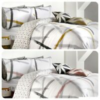 Appletree LEDA Cotton Duvet Cover Bedding Set Brush Stroke Ochre Pink White Grey