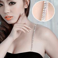 1 Pair Fashion Adjustable Crystal Rhinestone Double Row Bra Shoulder Straps
