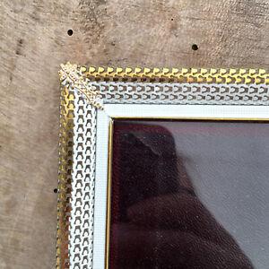 "10.6x8.2"" White Gold Frame Photo Picture Convex Danish Vintage Farmhouse Modern"