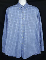 Peter Millar Shirt Mens Size L Cotton Long Sleeve Button Front Blue Check Plaid