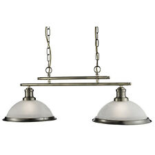 Bistro Antique Brass 2 Light Ceiling Bar Ceiling Pendant With Acid Glass Shades