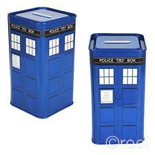 New Doctor Who TARDIS Tin Money Box Piggy Bank Tall Metal BBC Official