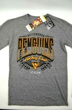 CCM NHL Hockey 2017 Pittsburgh Penguins Gray Long Sleeve Tee Shirt Size S NWT's