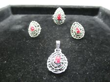 Handmade silver Plated Glass Pendants Ring Erring Set Women Jewelry Gift To Her