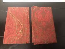 2 X Ralph Lauren - Bright Red Paisley Scroll -  Standard - Shams