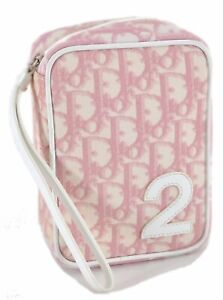 Authentic Christian Dior Trotter Pouch PVC Pink C8688