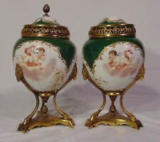 19th C French Sevres Porcelain Bronze Ormolu Winged Cherub Lidded Urns Ram Head