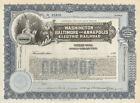 Washington Baltimore & Annapolis Electric Railroad   Maryland stock certificate