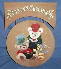 Hand Painted Wood Wooden Season's Greetings Sign Plaque Bear Christmas Carolers