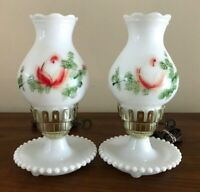 2 Vintage Milk Glass Hurricane Lamps Hand painted Roses Matching Pair