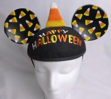 Happy Halloween Disneyland Mickey Mouse Ears Black Candy Corn Elastic Strap New
