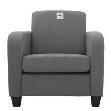 FoxHunter Tub Chair Armchair Linen Fabric Dining Living Room Lounge TC02 Grey