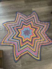 Handmade Crochet Star Blanket Afghan Pink Purple Blue Yellow Bright Multicolor